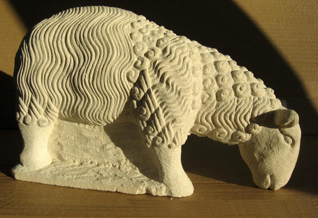 Assyrian Mule Sheep. Portland limestone. 2012.